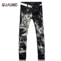 2019 New fashion Men's wolf printed jeans men slim straight Black stretch jeans high quality designer pants nightclubs singers
