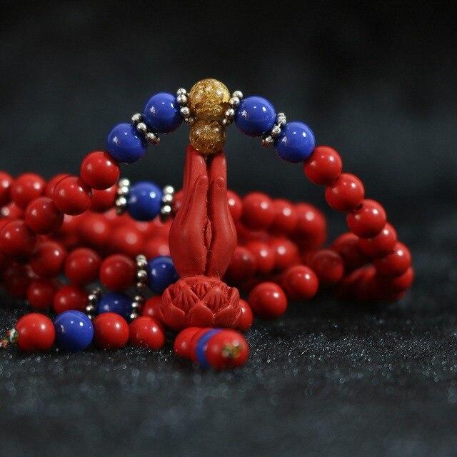 6e32e856c59a Cinnabar rojo sintético 6mm mano de Buda colgante azul oro-color espaciador  belleza mujeres pulsera