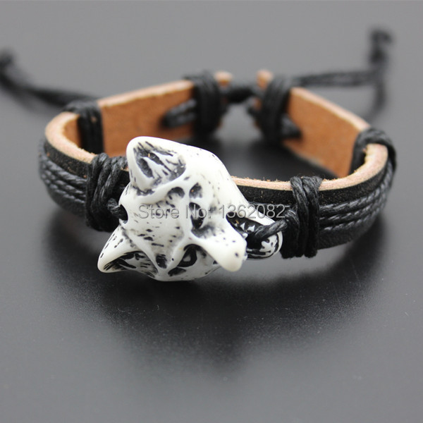 Cool Boy Men S Yak Bone Powder Carving Wolf Head Black Leather Surfer Bracelet Bangle Gift Mb78 In Charm Bracelets From Jewelry Accessories On