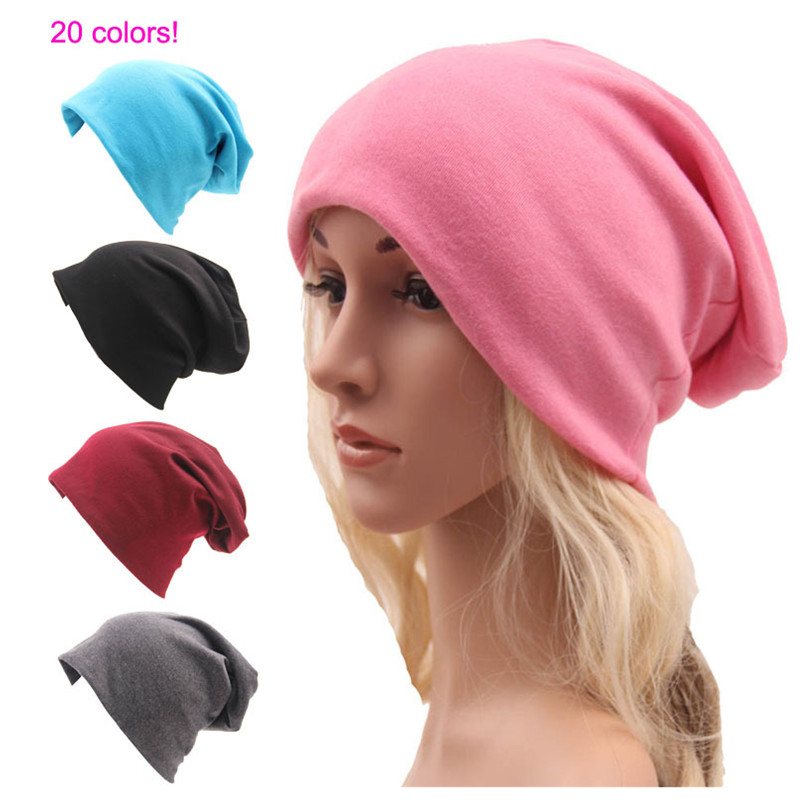 Solid Color Unisex Knitting Cotton Hat Fashion Men Women   Skullies     Beanies   Hedging Cap Double Layer Fabric Caps Bonnet Hat