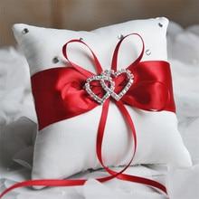 10X10cm Wedding Ring Pillow Double Heart Satin Bridal Ring Pillows Diamond Wedding Gifts Decor Multicolor C1