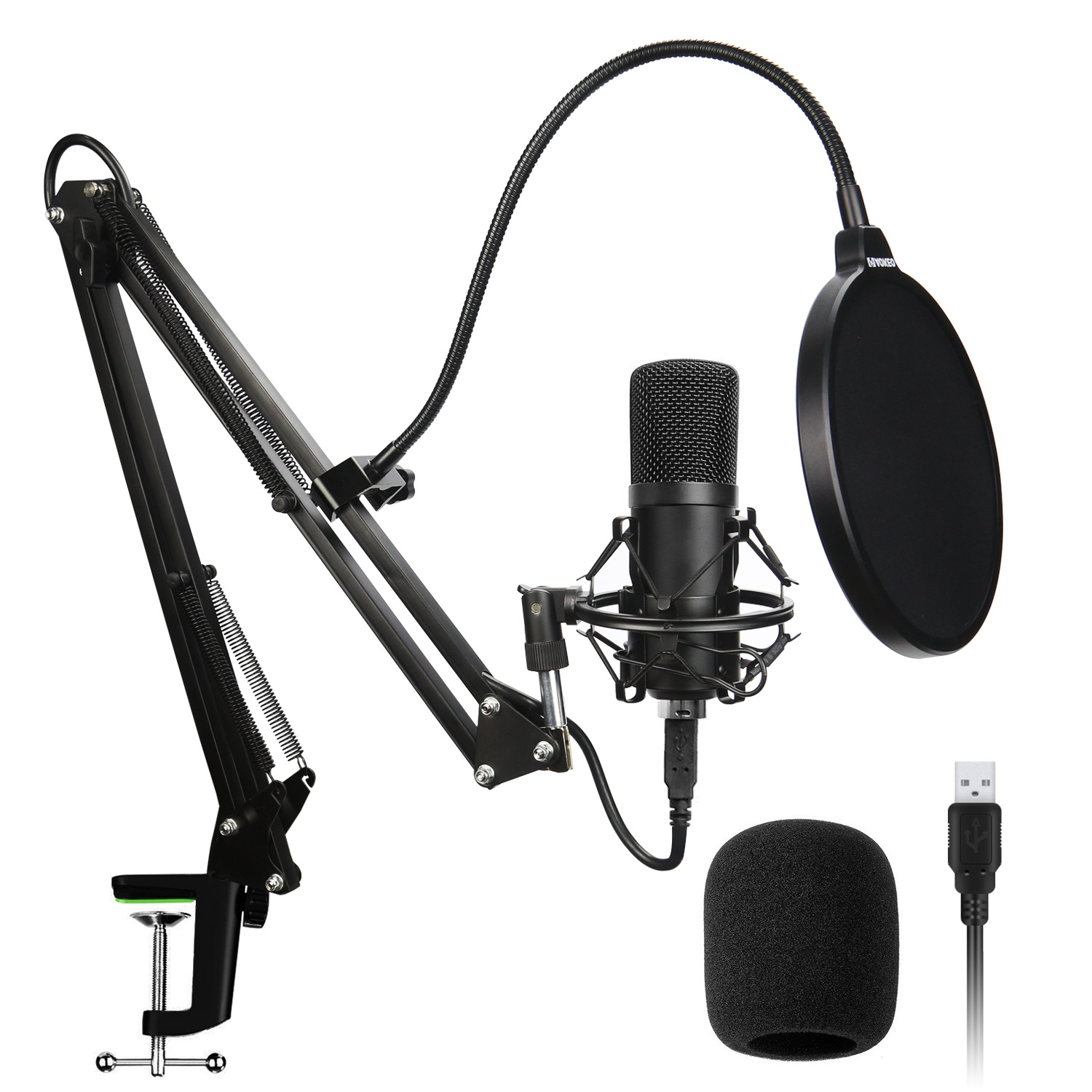 USB microphone gooseneck suspension microphone set 192KHz 24Bit high sampling rate condenser microphone for recording for