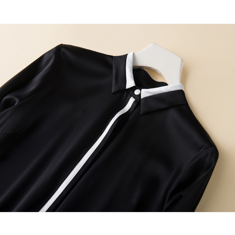 Tempérament De 95Soie Chemises 2019 Noir Blouses Luxe T Femmes Nouvelles En Longues shirt Et white Épissage Black Blanc Ol Manches rsdxthCQ