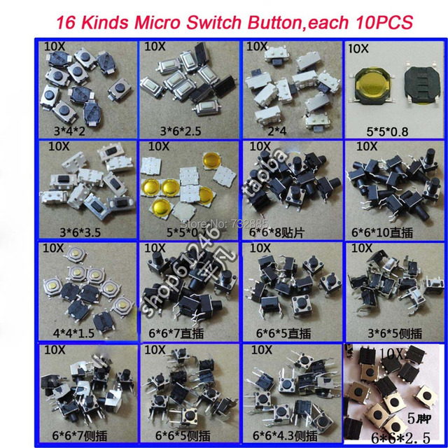 Free Shipping 16 Kinds Tactile Push Button Switch,  Micro Switch Button For Car Remote Key Widely Used  16Kinds * 10PCS/Kind