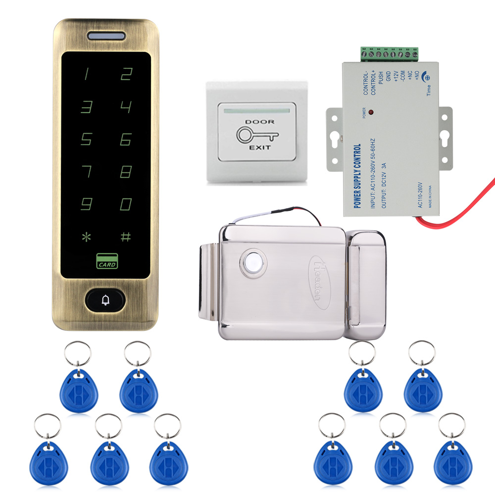 Mountainone Waterproof Metal Touch 8000 Users Door RFID Access Control Keypad Case Reader Electric Door Lock + 10 access cards raykube glass door access control kit electric bolt lock touch metal rfid reader access control keypad frameless glass door