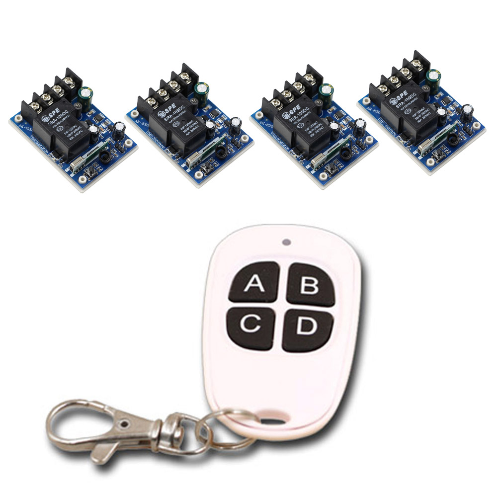 4PCS Receiver & 1PCS Transmitter Radio Switch DC12V 24V 36V 48V 1CH 30A RF Wireless Remote Control Switch System High Quality dc12v 24v 36v 48v 30a 1ch wireless remote control switch 3 transmitter with 2keys