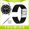 18mm 20mm 22mm 24mm Faixa De Relógio de Borracha de Silicone + Ferramenta para Breitling Fivela De Segurança Em Aço Inoxidável Das Mulheres Dos Homens Pulseira Pulseira preto