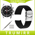 18mm 20mm 22mm 24mm Silicone Rubber Watch Band + Tool for Breitling Men Women Stainless Steel Safety Buckle Strap Bracelet Black