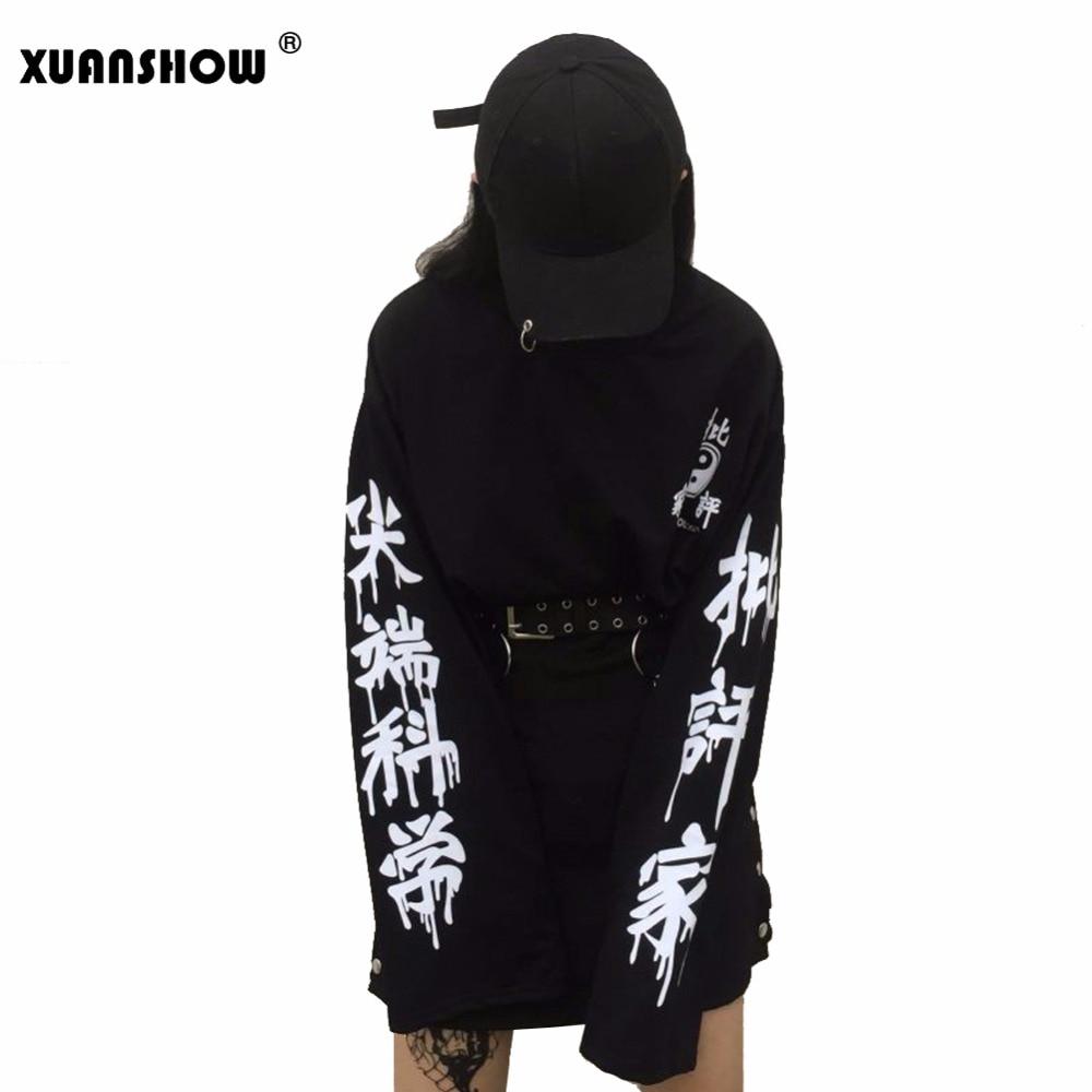 XUANSHOW Tops de gran tamaño Harajuku Punk gótico mujeres Streetwear corte borde ciencia letra impresión pulóver de manga larga chándal