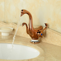 Luxury Rose Gold Duck Shape Bathroom Basin Faucet Dual Handles Vanity Sink Mixer Tap Hot And Cold Water