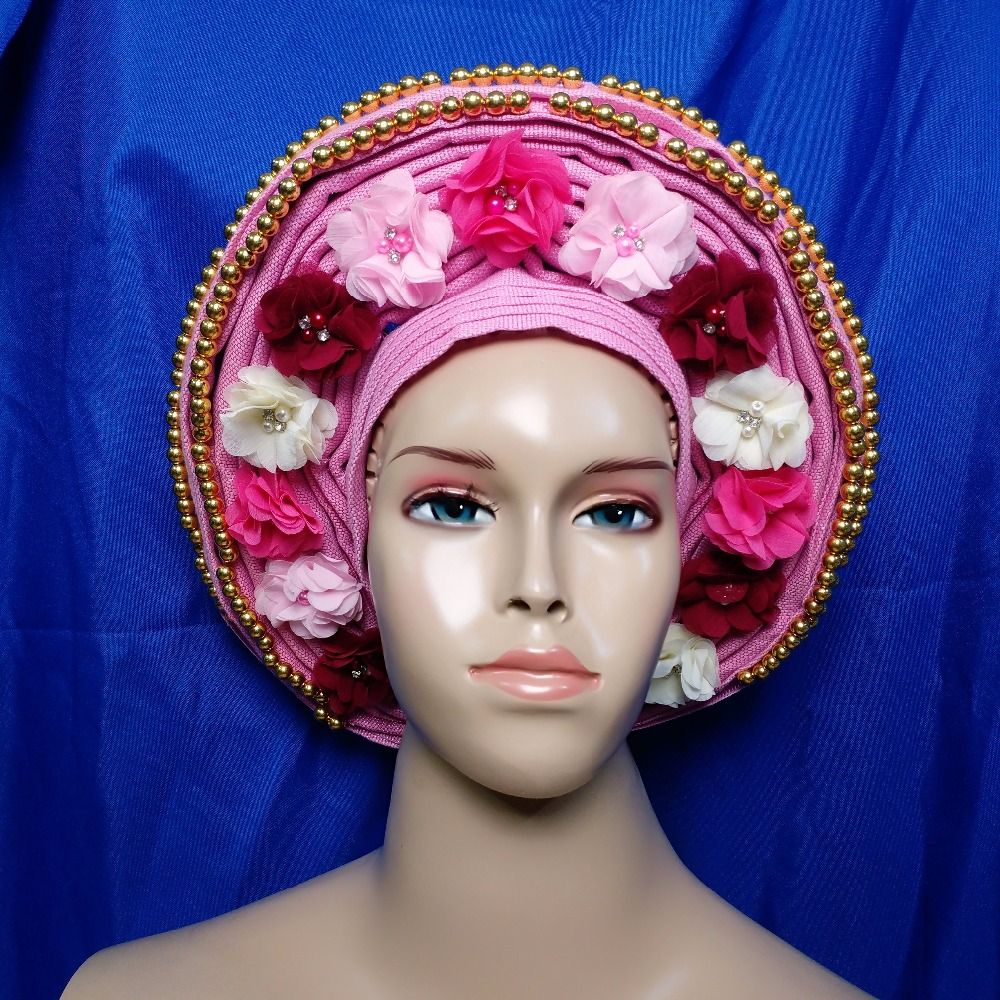 AsoOke Already Tied Auto Gele Beads Multi Color New Arrival African Ladies For Bridal And Party