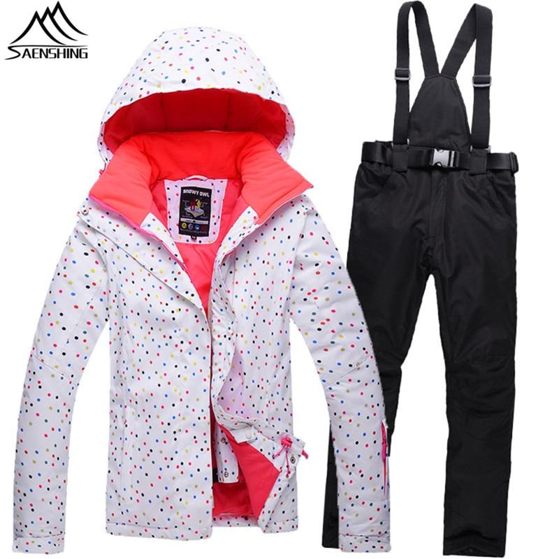 SAENSHING Ski Suit Women Winter Suit Waterproof Breathable Women`s Snowboard Jacket+Skiing Pants for Mountain Skiing Snow Sets цена