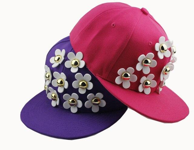 2016 Хорошее Качество Женщины Плоским Бейсбол Шляпы Корейский Стиль Уличной Моды Хип-Хоп Цветок Логотип Snapback Hat Cap Для Мужчин