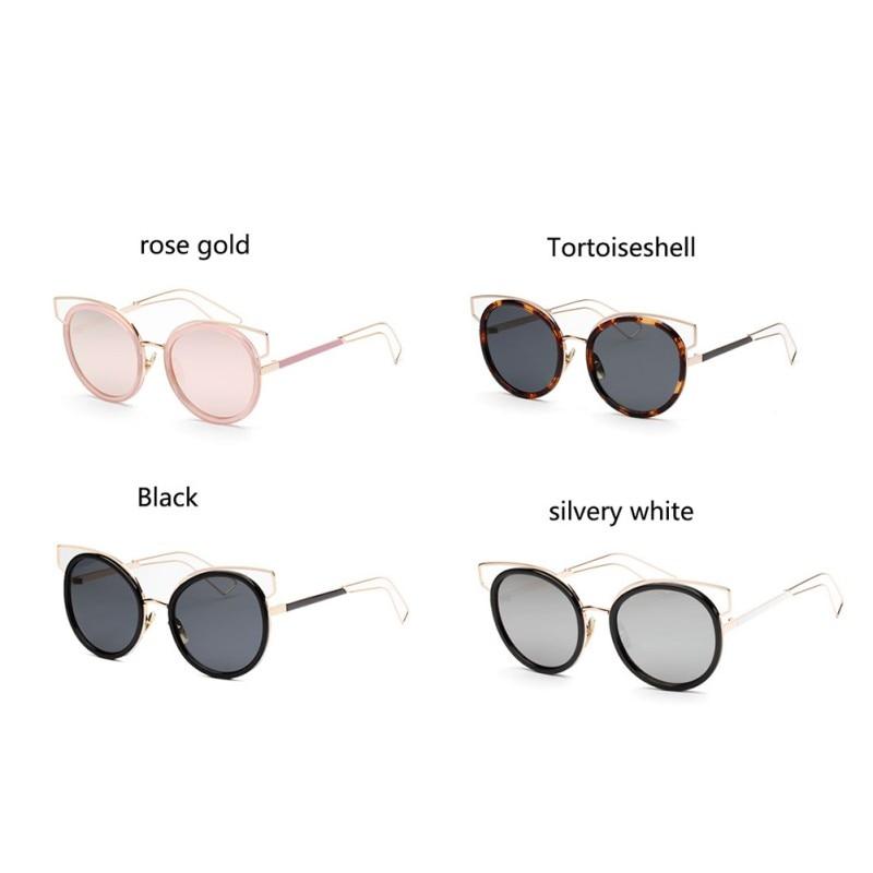 Cat Eye Sunglasses Mirror Flat Lense Women Classic Brand Designer Twin-Beams Rose Gold Frame Sun Glasses Chill Cool Style