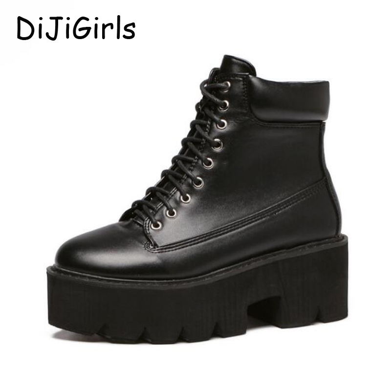 16cc066e1 Женские Сапоги и ботинки для девочек зимняя обувь модные ботинки на высокой  платформе дамские ботильоны Обувь в стиле панк мотоботы обувь на платформе  D1307 ...