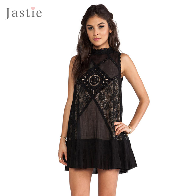 Jastie Summer Dresses Angel Lace Dress Backless Boho People Hippie Style Party Slip Dresses Sleeveless Black No Back estidos