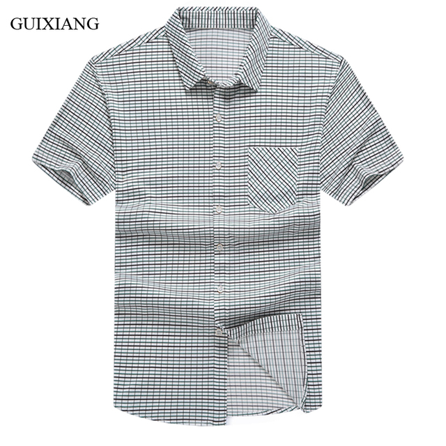 b9615e2ea0e78 New arrival summer style Men plaid short sleeve shirt dress high quality  business casual thin shirt male cotton slim short shirt