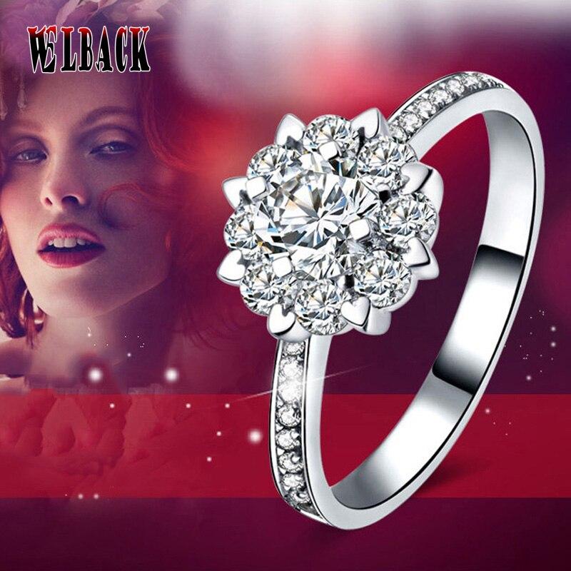 2016 Nieuwste Bruiloft Engagement Ringen Luxe Zonnebloem Vrouw Cz Ringen Bijoux Wit Zirconia Vrouwelijke Ringen