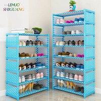 Простая Многоуровневая стойка для обуви нетканых материалов легкая сборка полки для хранения шкаф для обуви стильная Полочка для книг мебе...