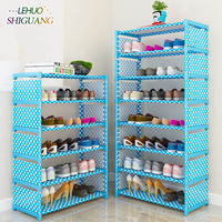 Simple Multi Layer Shoe Rack Nonwovens Easy Assemble Storage Shelf Shoe Cabinet Fashion Bookshelf Living Room