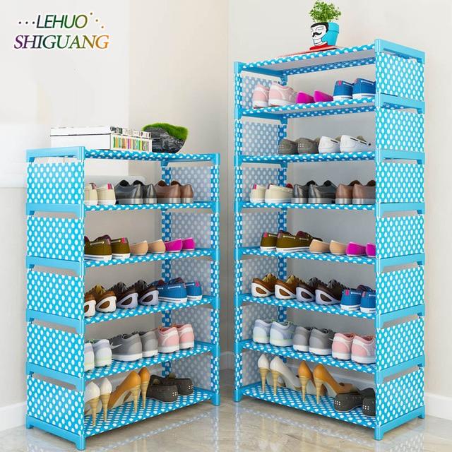 Simple Multi Layer Shoe Rack Nonwovens Easy Assemble Storage Shelf Shoe  Cabinet Fashion Bookshelf Living Room