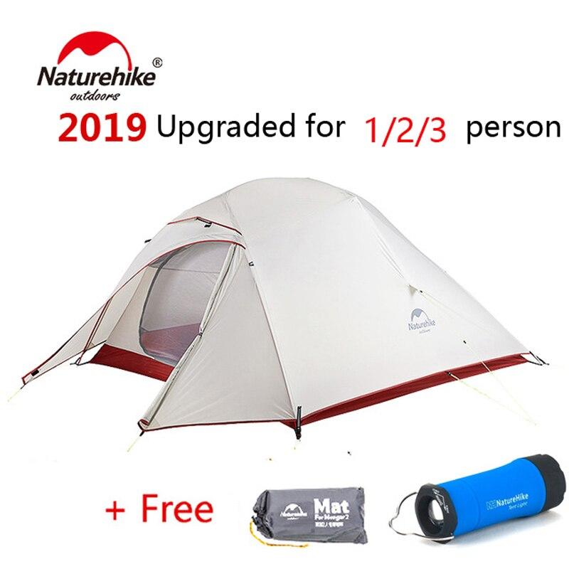 Naturetrek a amélioré le nuage jusqu'à 1 2 3 tente ultra-légère 20D debout libre tissu 1-3 tentes de Camping de personne avec le tapis libre