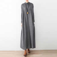 Autumn Winter Long Maxi Dress Brand Casual Dresses Gray Blue Knit Asymmetric Long Sleeve Oversized Turtleneck Warm Thick Dress