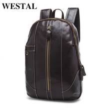 WESTAL Genuine Leather Backpacks Men Shoulder Bag Men Bag Leather Laptop Bag 15 inch Men's Luggage Travel Bags School Backpack