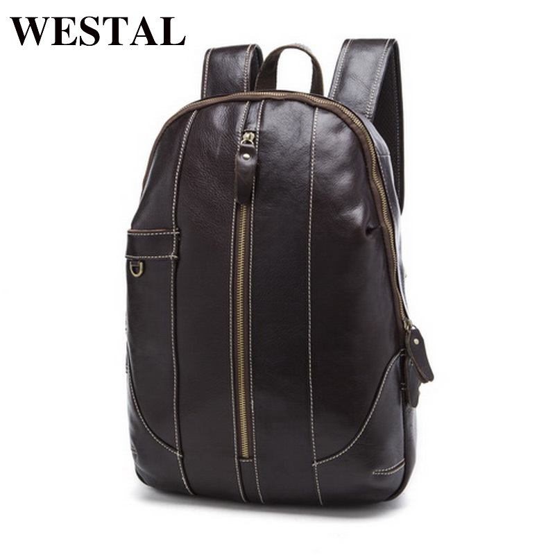 WESTAL Men Backpacks for men Genuine Leather Backpack Male casual Backpack for laptop 15inch back pack bagpack Men's Travel Bag augur 2018 brand men backpack waterproof 15inch laptop back teenage college dayback larger capacity travel bag pack for male