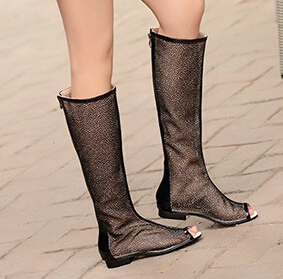 New Womens Open Toe Cool Summer Knee High Mesh Boots Sweet Flats Zip Sandals High-Leg Flat Boots Plus Size 34-43 Zapatos Mujer new 2017 spring summer women shoes pointed toe high quality brand fashion womens flats ladies plus size 41 sweet flock t179