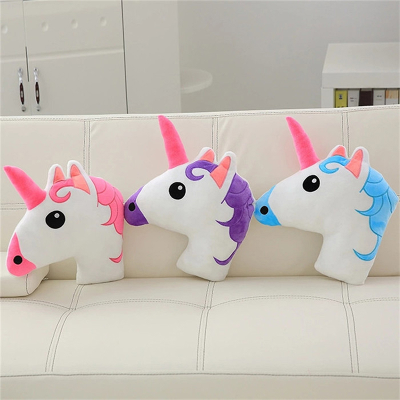 Adorable Plush Stuffed Unicorn Head Pillow 3D Lifelike