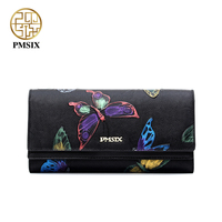 Pmsix 2017 New Top Layer Genuine Leather Women Clutch Wallet Butterfly Embossing Retro Ladies Clutch Money
