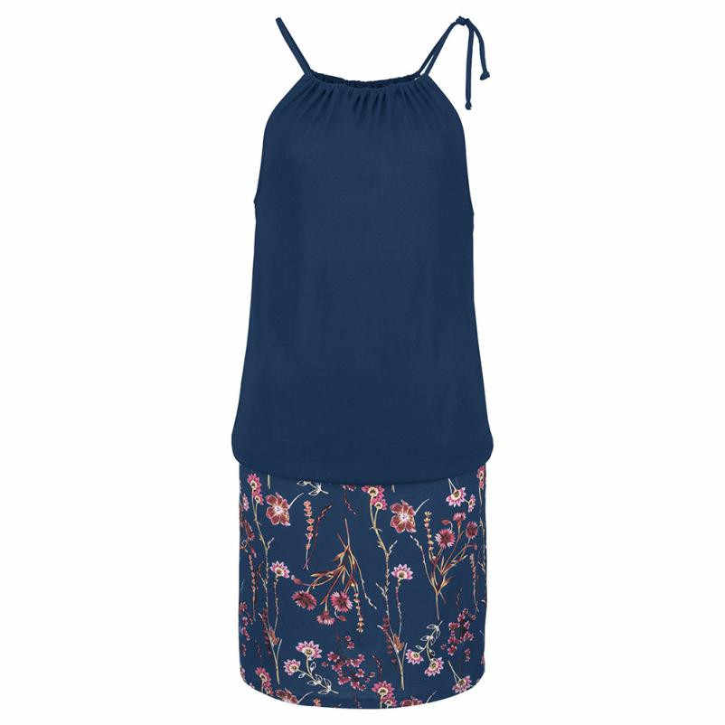 Пляжное платье для женщин Повседневное без рукавов с цветным Ретро принтом мини платья вырезами Холтер летнее богемное # L
