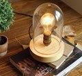 Лофт промышленная винтажная натуральная стеклянная деревянная основа для настольной лампы simpe современная настольная лампа для чтения для...