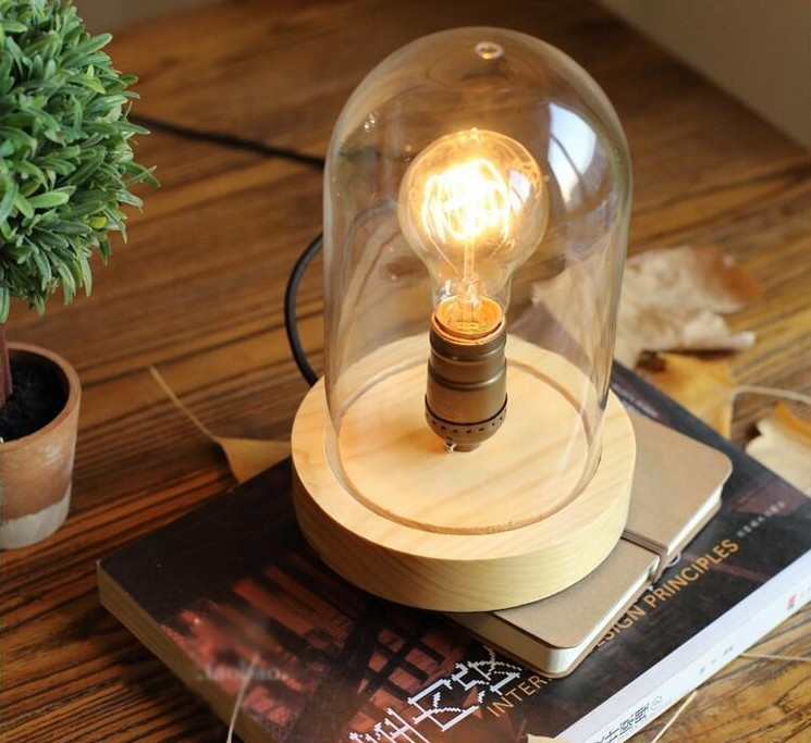 Loft Industrial vintage nature glass wood base table lamp simpe modern reading desk lamp for study bedroom living room workroom