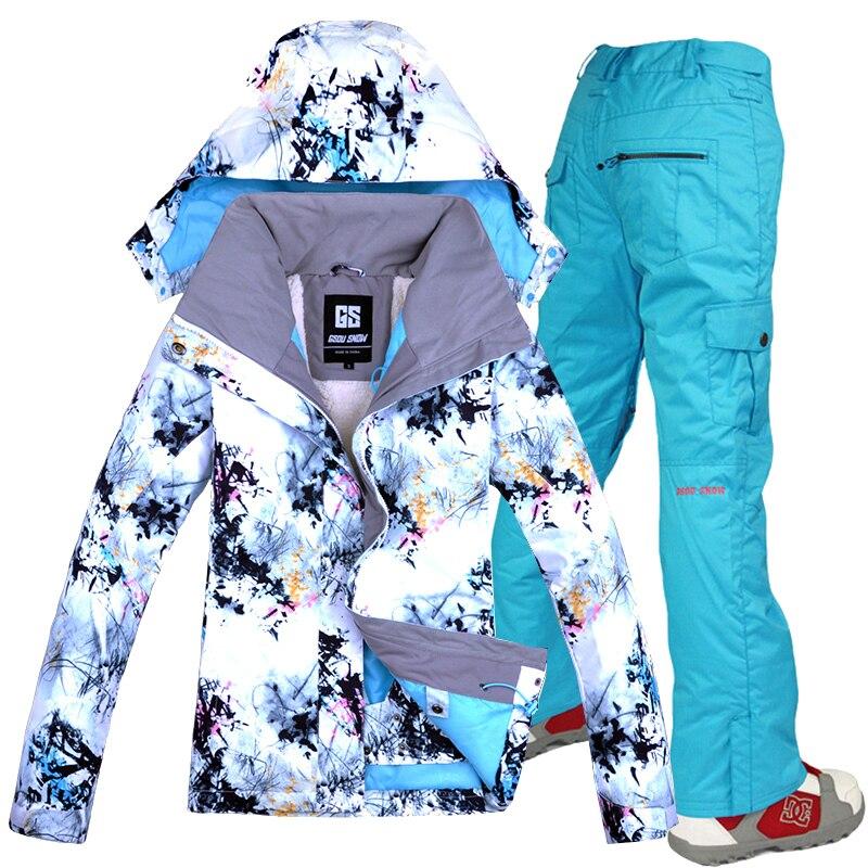 Combinaison de Ski de neige GSOU Double planche simple pour femme en plein air épais Sport chaud respirant imperméable veste de Ski pantalon de Ski