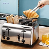 623 High Quality Household Multifunctional Stainless Steel 2 slices/4 slices Toaster Automatic Toaster Breakfast Machine Silver