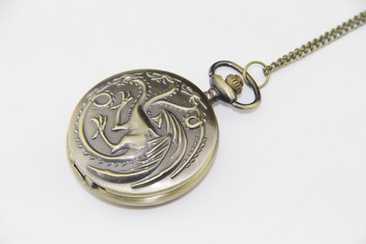 ZRM Fashion Antique Charm Game Of Thrones Targaryen Three Head Dragon Pocket Watch Necklace Movie Charm Men Women Clock Gifts