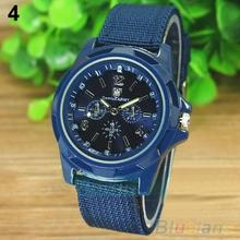 купить Men's Fashion Military Army Style Nylon Band Sports Analog Quartz Wrist Watch  1L4O дешево