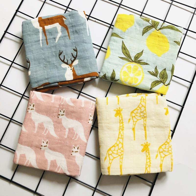 Newborn  Organic Cotton Bamboo Baby Blanket Muslin Swaddle Wrap Feeding Burpy Towel Scraf Bibs Muslin Big Diaper