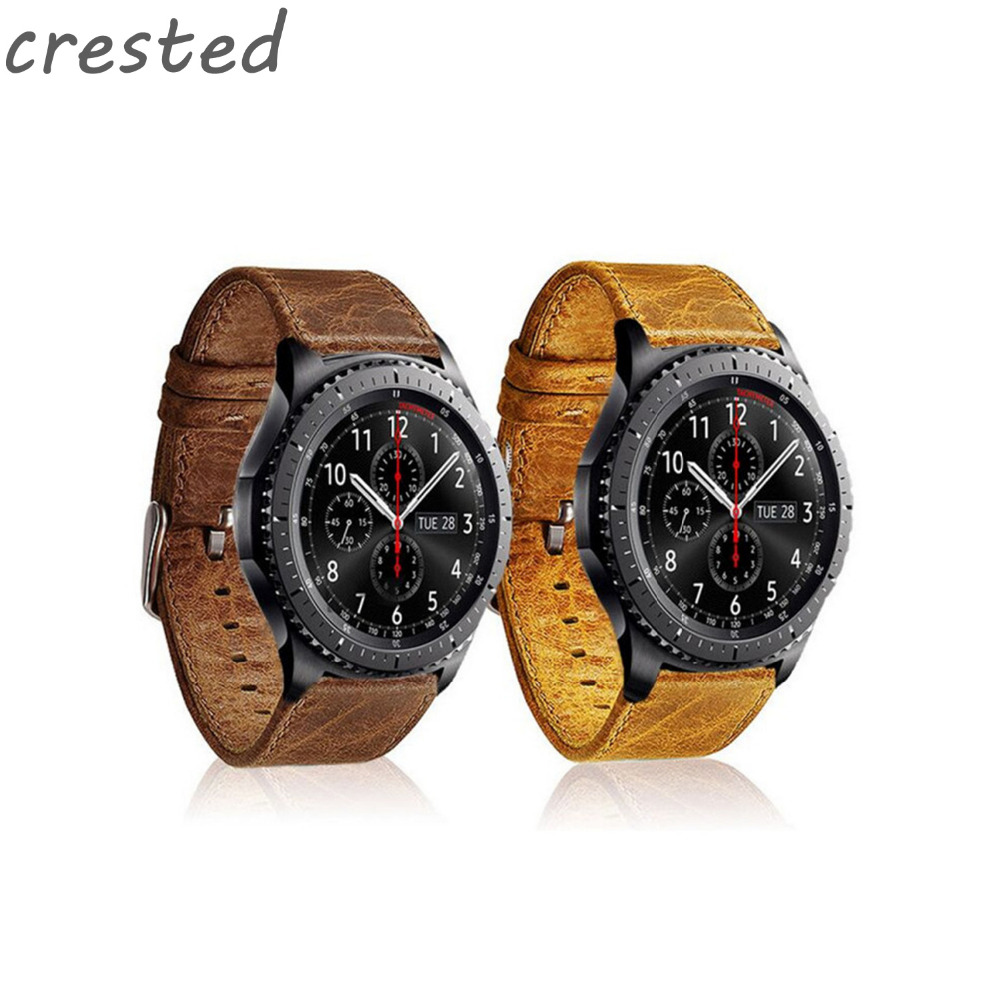 CRESTED Genuine Leather Strap for Samsung Gear S3 Watch Band wrist bracelet Leather watchband Metal Buck Belt & Classic/Frontier genuine leather watchband for longines men leather watch strap for women metal buckle watch band belt retro watch clock band
