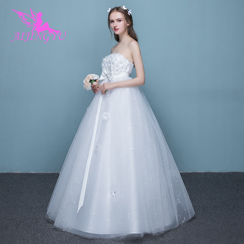AIJINGYU 2018 V-neck free shipping new hot selling cheap ball gown lace up back formal bride dresses wedding dress FU242