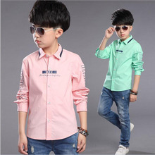 Fashion Autumn baby boy long sleeve shirt cotton letter kid's all-match base shirts simple casual children clothes 4-12Y