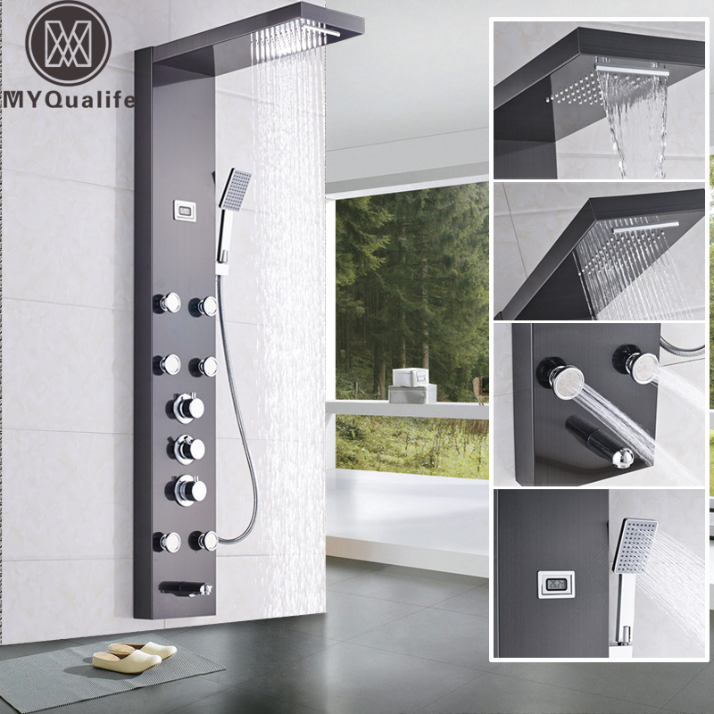 Waterfall 6pc Massage Jets Rain Shower Column Thermostatic Mixer Shower Faucet Tower W Hand Shower Tub