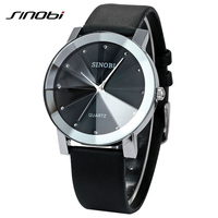 Top Brand SINOBI Fashion Design Big Dial Black And White PU Leather Quartz Watch Women High