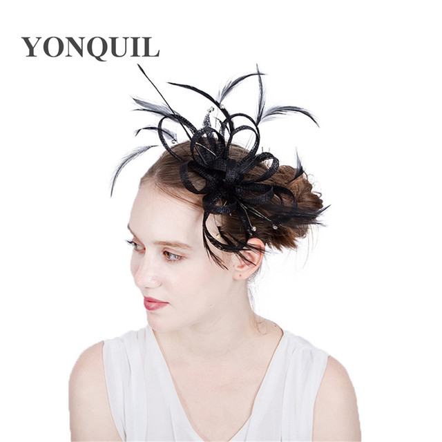 Elegant Black Wedding Cocktail Hats Hairbands For Women New Feather Flower Design Banquets Ladies Summer Occasion Event Races