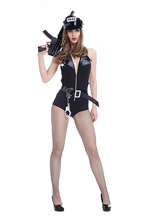 Adult Women Porn Games Outfit Sexy Police Costume Fancy Wetlook Hollow Plunge Bodysuits Cool Club Halter Outfit For Girls XL