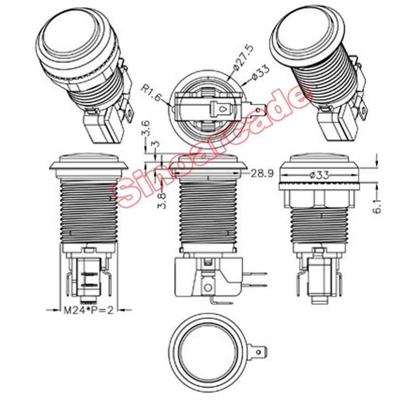 JX-33 LED button size