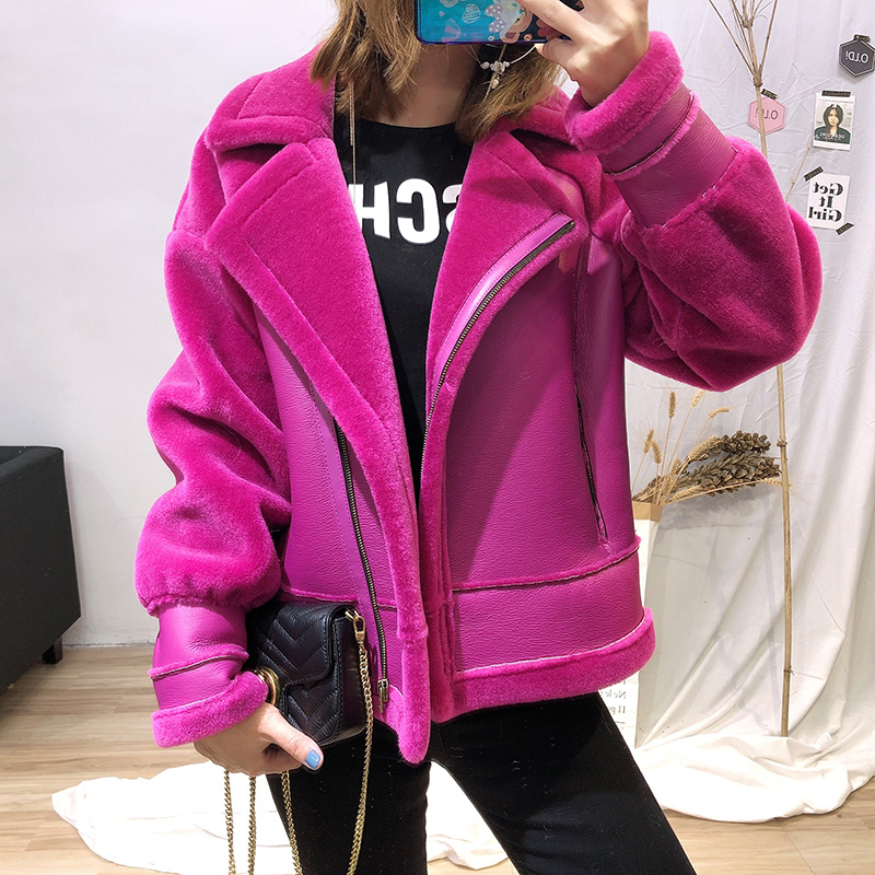 2019 New Real Fur Coat Women's Real Sheep Wool Fur Patch Pu Leather Jacket Ladies Warm Jackets Short Coat Overcoats Femme