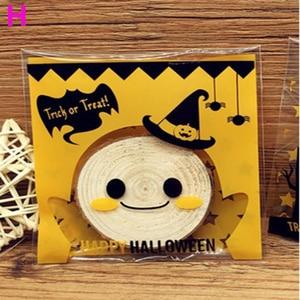 Image 4 - 100 ピース/パック素敵なハロウィンクッキーキャンディーパン包装袋多色自己粘着クッキー包装ポーチボックス